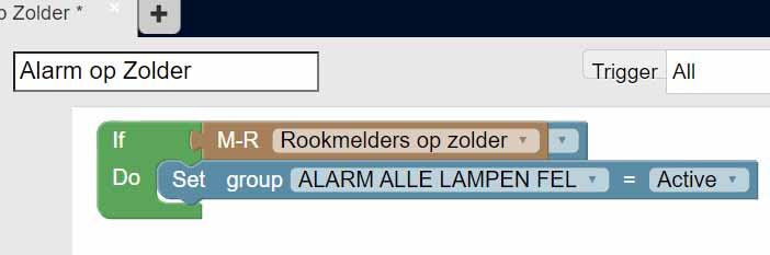 Blockly script zet alle lampen op fel als rookmelder afgaat