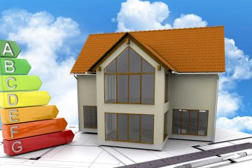 Rendering van huis met energiegrafiek