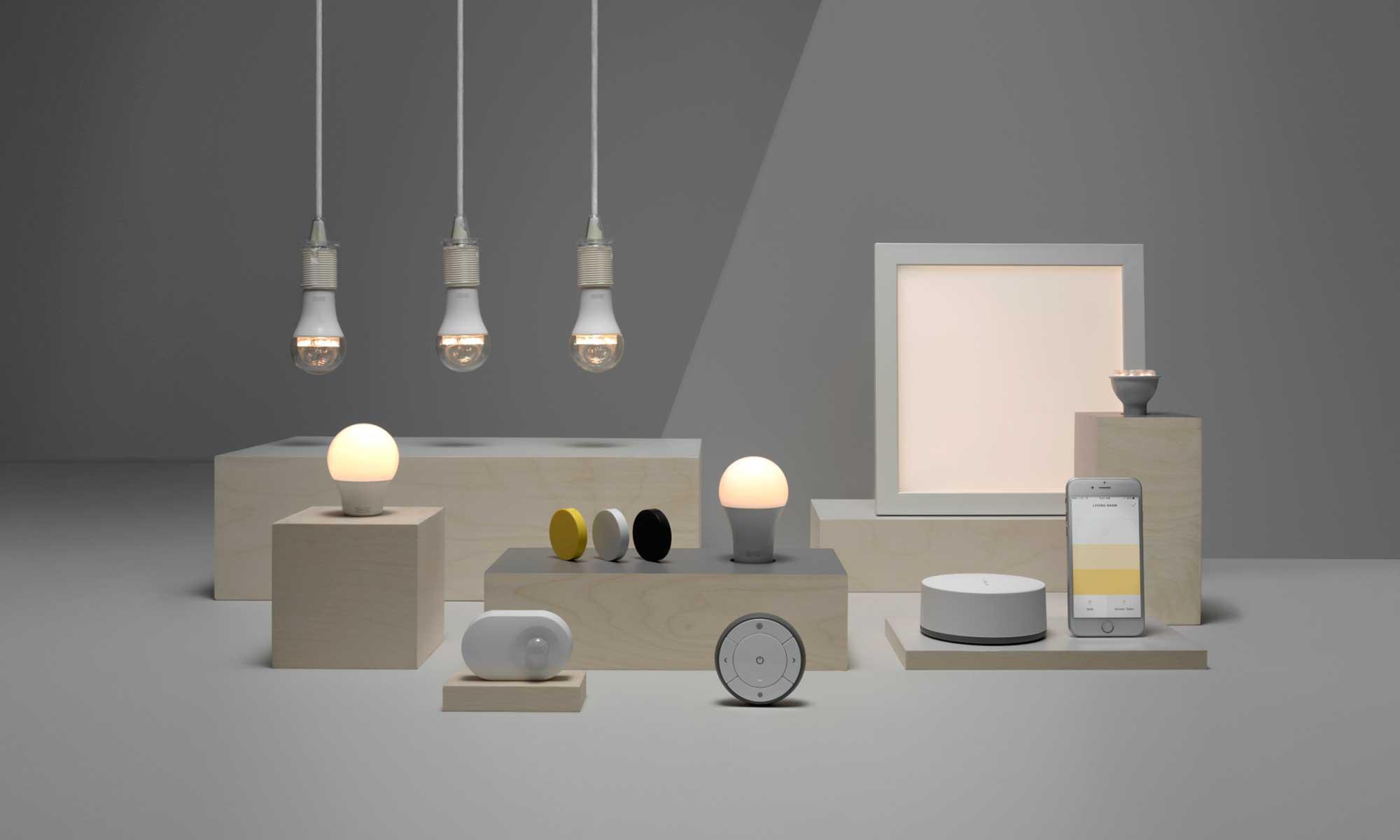 Onderdelen van de IKEA Tradfri smart lighting serie