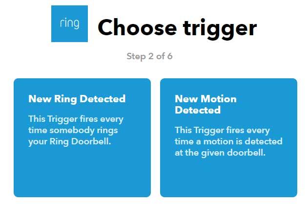 IFTTT schermafdruk Ring