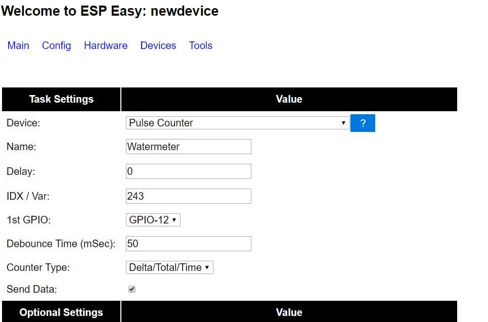 Schermafbeelding ESP Easy watermeter sensor
