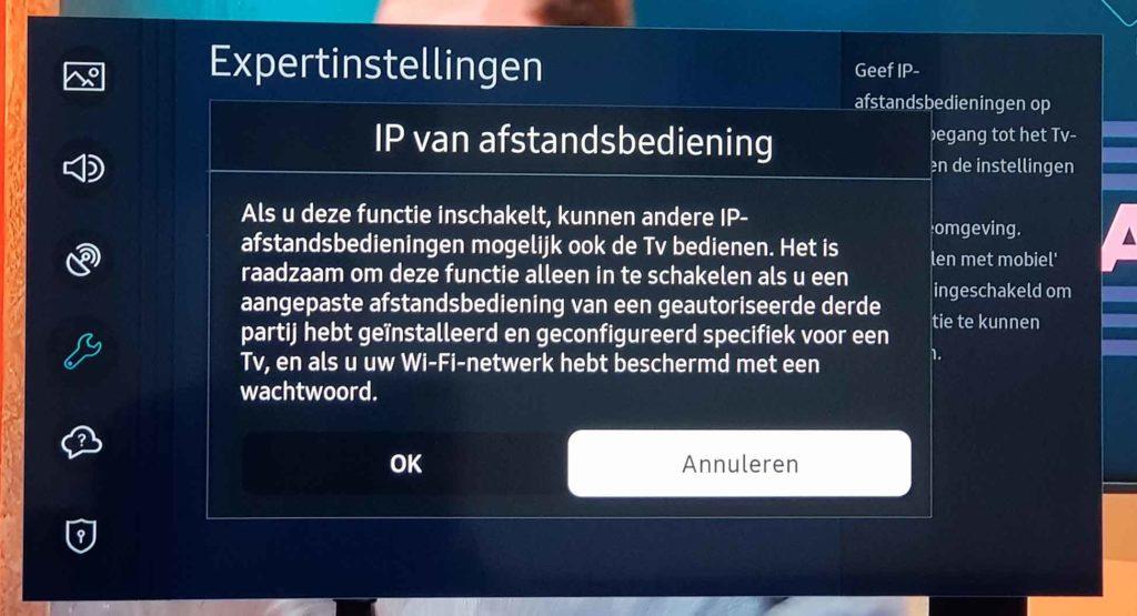 Schermafbeelding IP-instellingen Samsung Smart TV